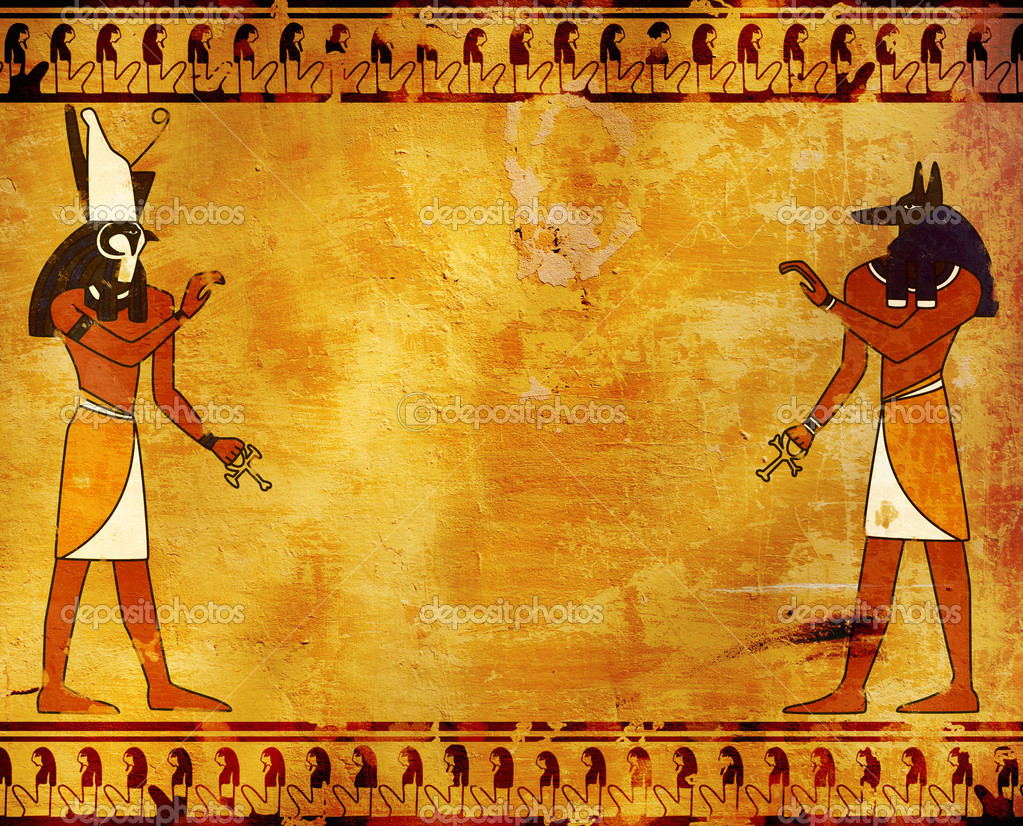 Anubis and horus stock photo frenta 4965420 for Egyptian wallpaper mural