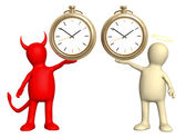 Angel and devil with clock — Stock Photo