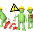 3d puppets with emergency cones — Foto de Stock