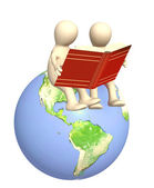 3d puppets, reading the books — Stock Photo