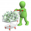Puppet with shopping cart and euro — Stock Photo