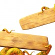 Tentacles of a monster, holding a wooden board — Stock Photo