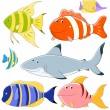 Vector collection of fish - Stock Vector