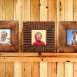 Three wooden frames with family photos — Stock Photo #5334233