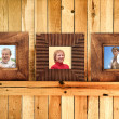 Three wooden frames with family photos — Stock Photo