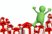 3d puppet with gifts — Stock Photo