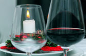 Candle on a table in Christmas — Stock Photo