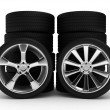 Different wheels with tires — Stock Photo