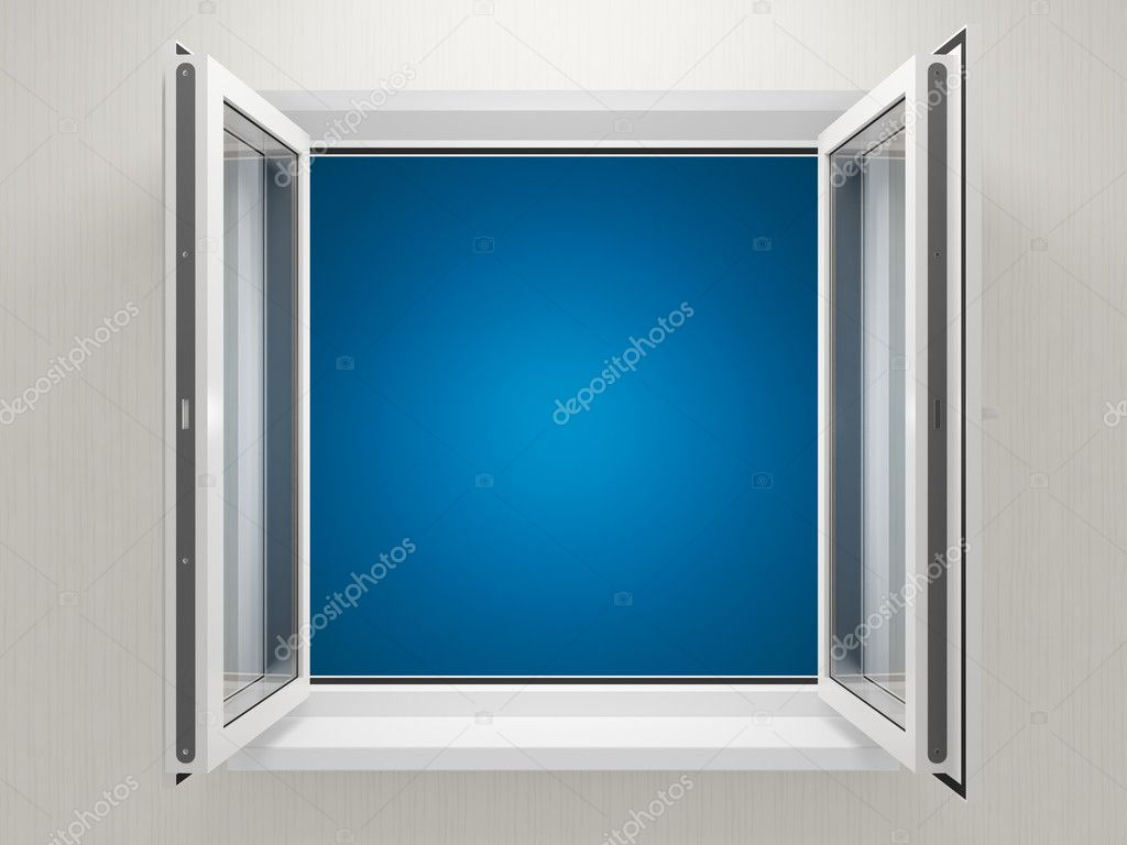 Opened plastic window stock photo shenki 4353512 for Window plastic