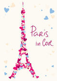 Eiffel Tower tower from hearts — ストックベクタ