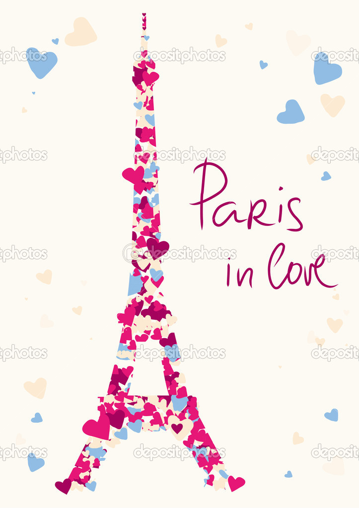 Holiday Coloring Pages valentine hearts coloring pages : Eiffel-Turm aus Herzen u2014 Stockvektor u00a9 Shenki #4619223