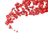 Falling red cubes with percent — Stock Photo