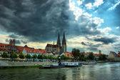 Cityscape eski regensburg, Bavyera, Almanya, unesco miras, hdr — Stok fotoğraf