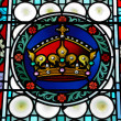 Fragment of stained glass window in St.Vitus Cathedral in Prague — Stockfoto