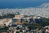 View of Acropolis from Lykavittos hill - highest point of Athens — Stock Photo