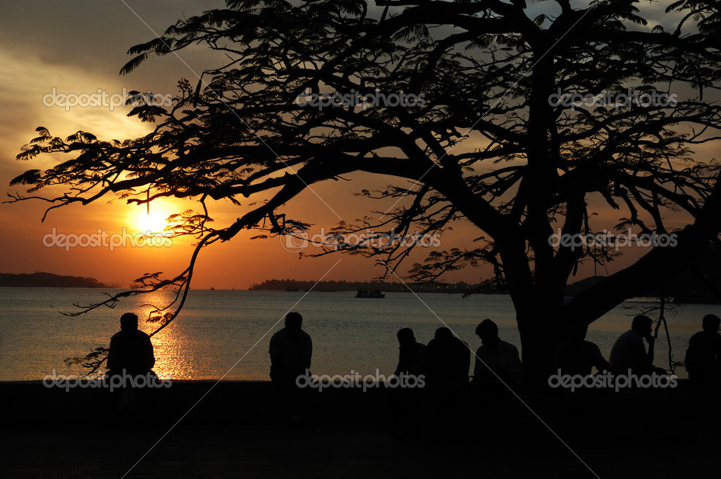 Sunset at Marine drive street,Cochi,Kerala,India — Stock Photo #4128851