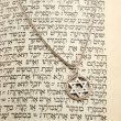 Stock Photo: Torah and silver chain with magen david