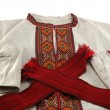 Stock Photo: Traditional ukrainimale clothes - embroidered shirt and red