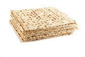 Jewish Passover holiday ritual food - matza on white background — Stock Photo