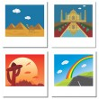 Stock Vector: Set of four travel vector photos with Taj Mahal,egypt pyramids