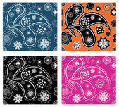 Collection of four retro seamless indian paisley vector patterns — Stock Vector