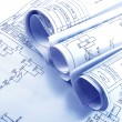 Engineering electricity blueprint rolls — Stok fotoğraf