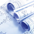 Stock Photo: Engineering electricity blueprint rolls