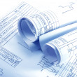 Engineering electricity blueprint rolls - Stock Photo