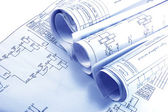 Engineering electricity blueprint rolls — Stock Photo