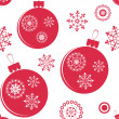 Holiday red christmas vector seamless texture with balls — Stock Vector
