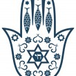 Jewish sacred amulet - hamsa or Miriam hand, vector illustration - Stock Vector