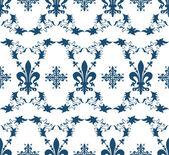 Seamless blue royal vector texture with fleur-de-lis — Stock Vector