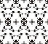 Seamless black royal vector texture with fleur-de-lis — Stock Vector