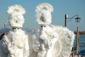 Two masks -white angels at Carnival of Venice 2011 — Stock Photo