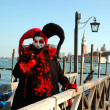 Stock Photo: Harlequin mask at Venice carnival 2011