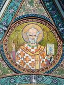 Saint Nicholas icon in the church - patron of seafarers — Stock Photo