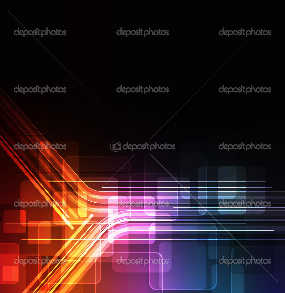 Stylized abstract background with digital symbols and glowing elements  — ベクター素材ストック #5361400
