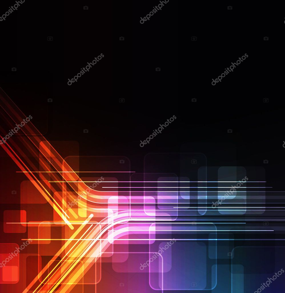 Stylized abstract background with digital symbols and glowing elements  — Stock Vector #5361400