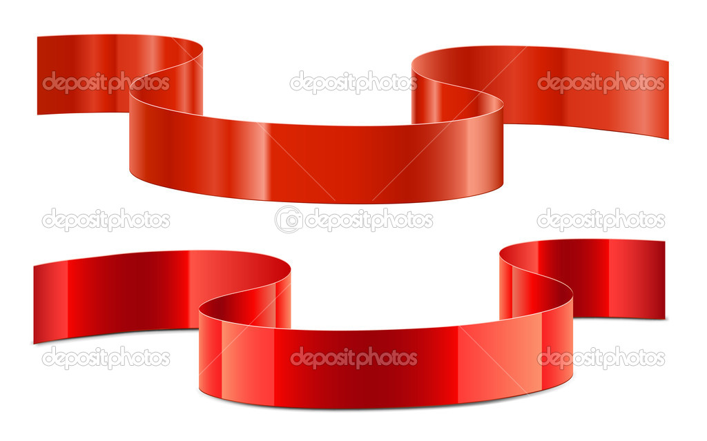 Red decoration ribbon with shadows and reflections — Stock Vector #4972468