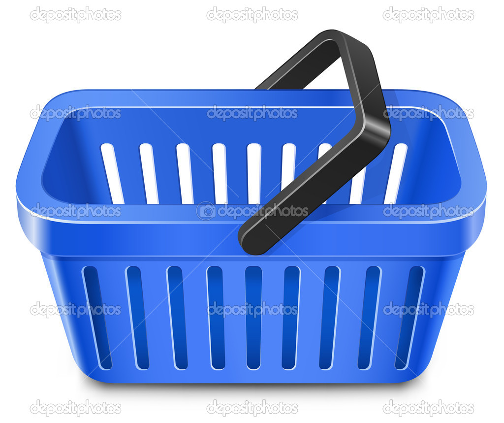 Blue shopping basket vector illustration — Image vectorielle #4972547