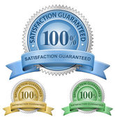 100% Satisfaction Guaranteed Signs — ストックベクタ
