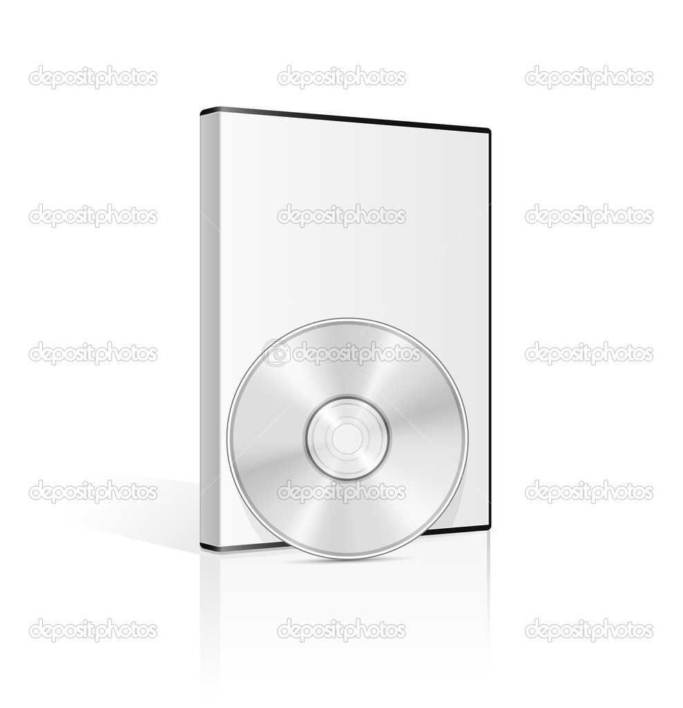 DVD case and disk on white background. Vector illustration. — ベクター素材ストック #5126172