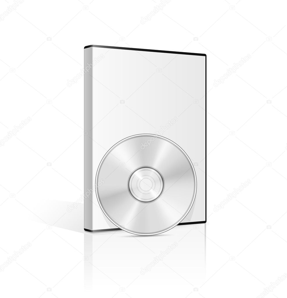 DVD case and disk on white background. Vector illustration. — Imagen vectorial #5126172