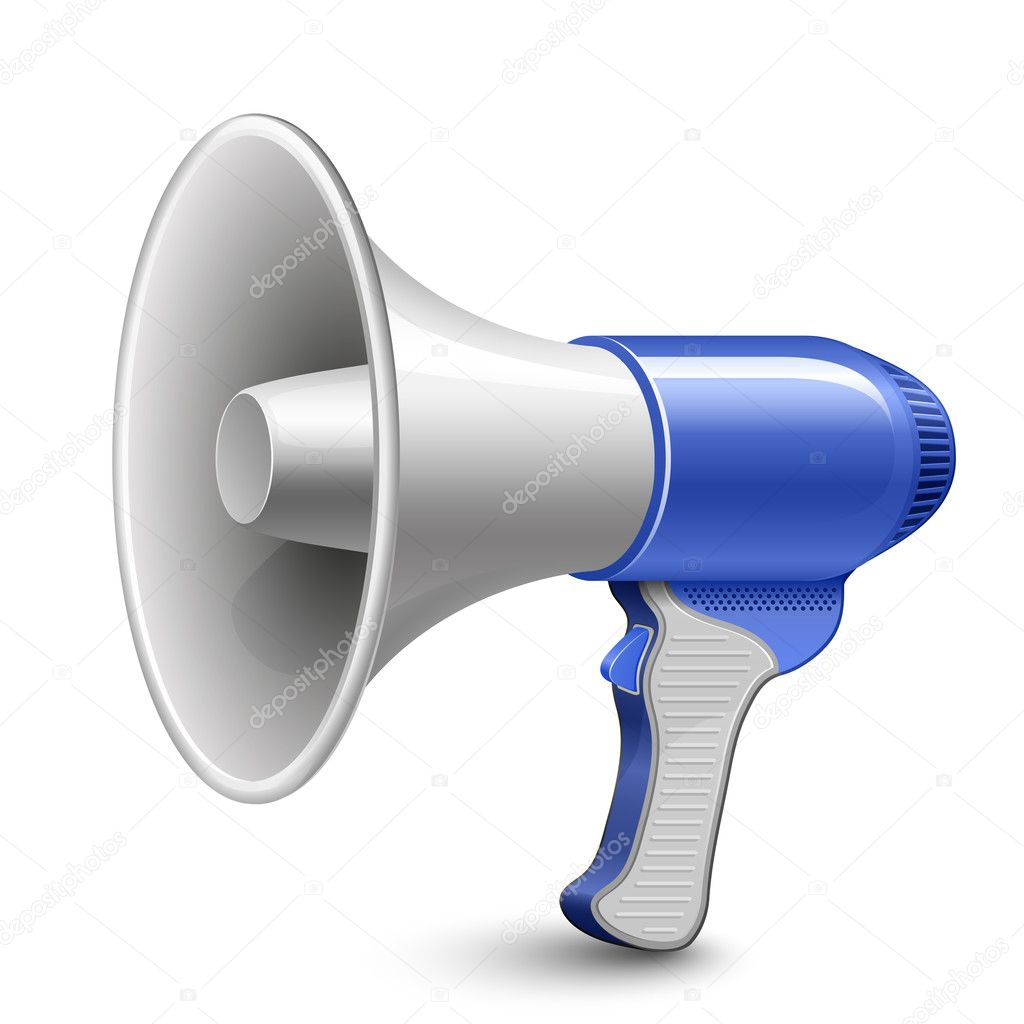 Megaphone. Blue Loudspeaker. Highly detailed vector illustration. — ベクター素材ストック #5127702