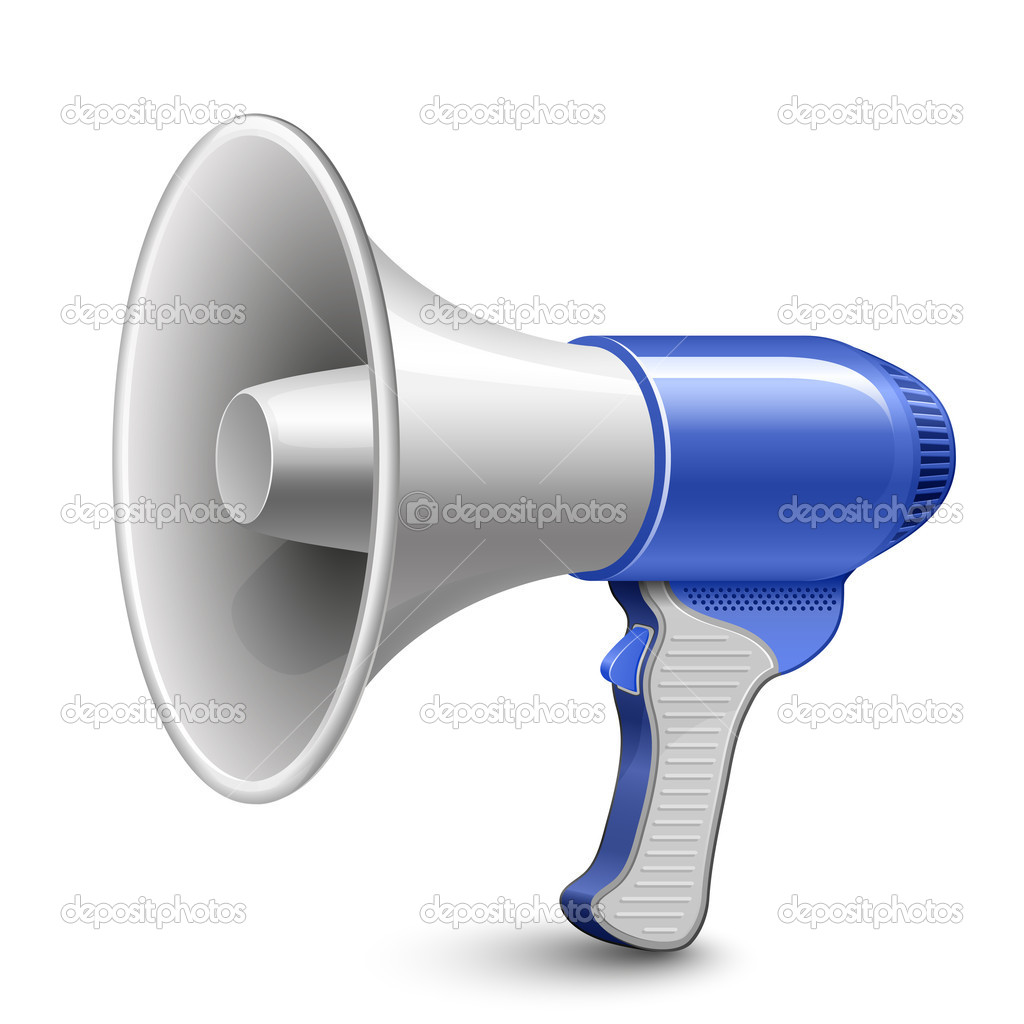 Megaphone. Blue Loudspeaker. Highly detailed vector illustration. — Grafika wektorowa #5127702