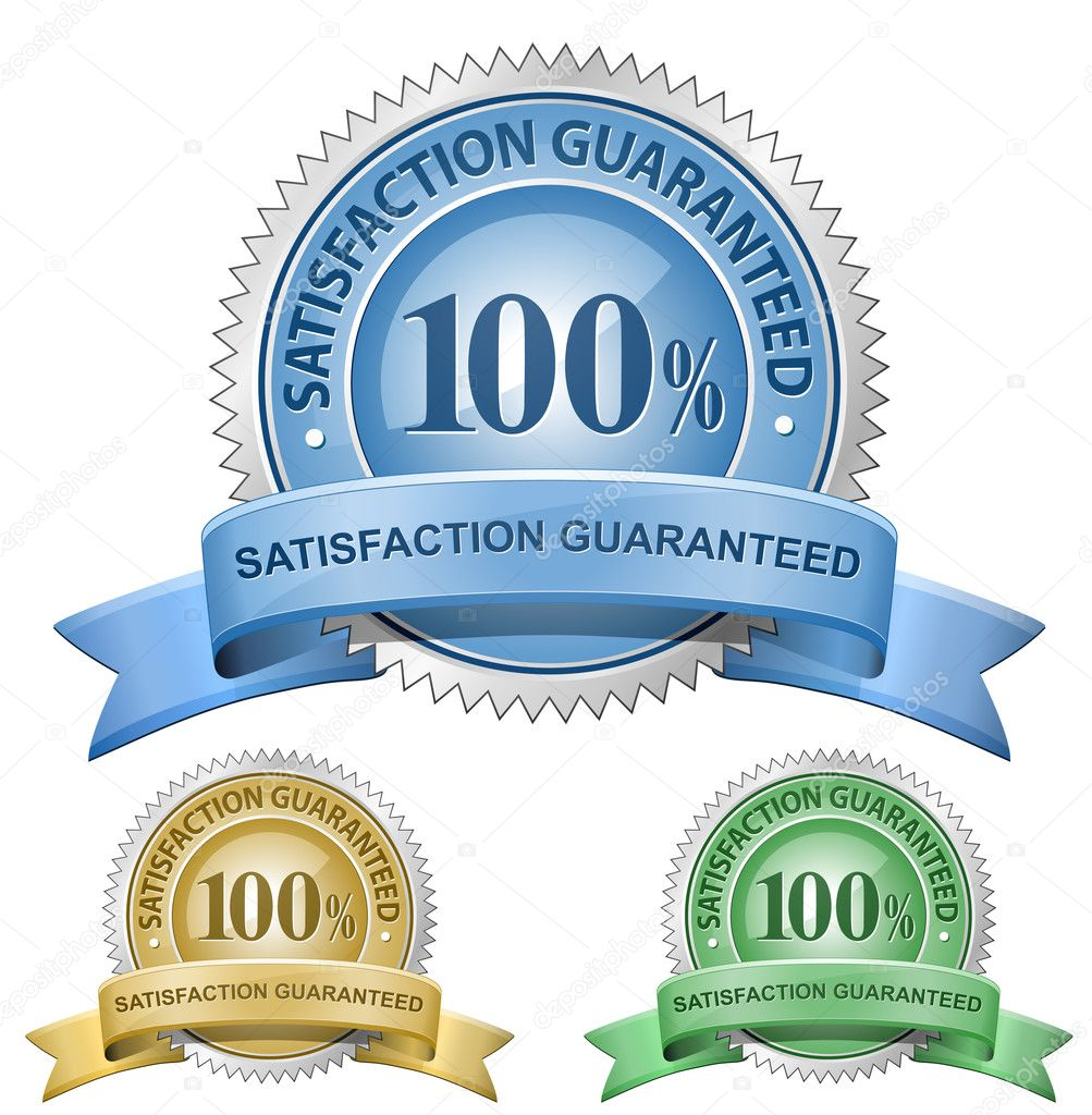 100 % Satisfaction Guaranteed Signs. Vector illustration — Grafika wektorowa #5128559