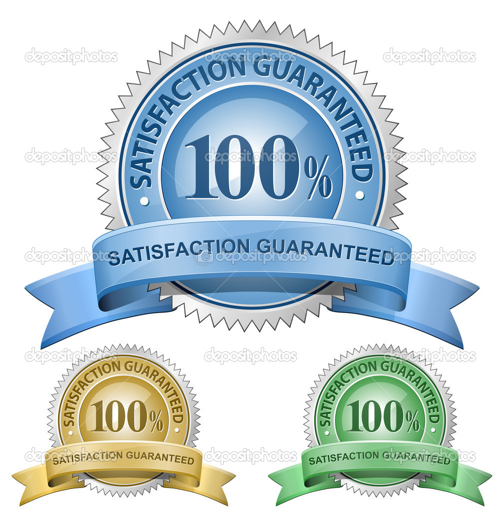 100 % Satisfaction Guaranteed Signs. Vector illustration — Imagen vectorial #5128559