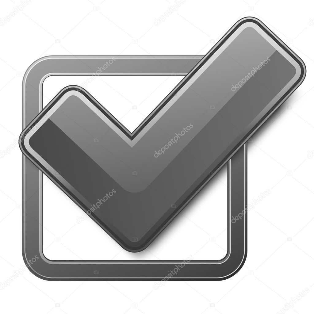 Black check box with check mark. Vector illustration. — Stock Vector #5130702