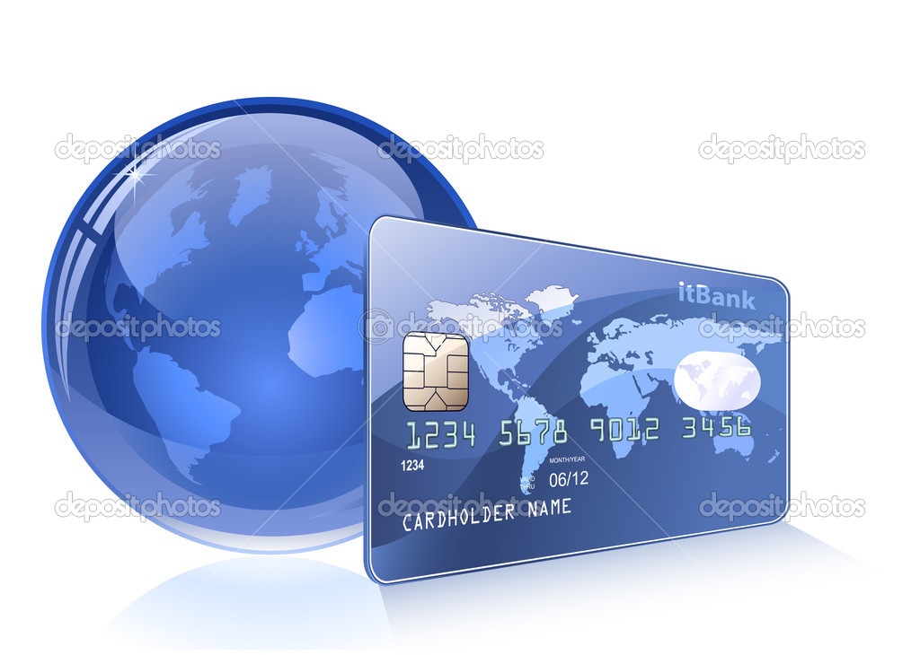 Credit card with world map and Globe. Payment concept. Internet Banking. — Stock Vector #5141730