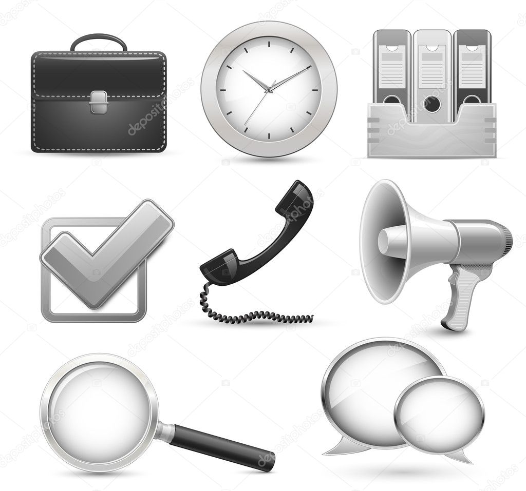 Highly detailed office icons for business web site  Grafika wektorowa #5141954